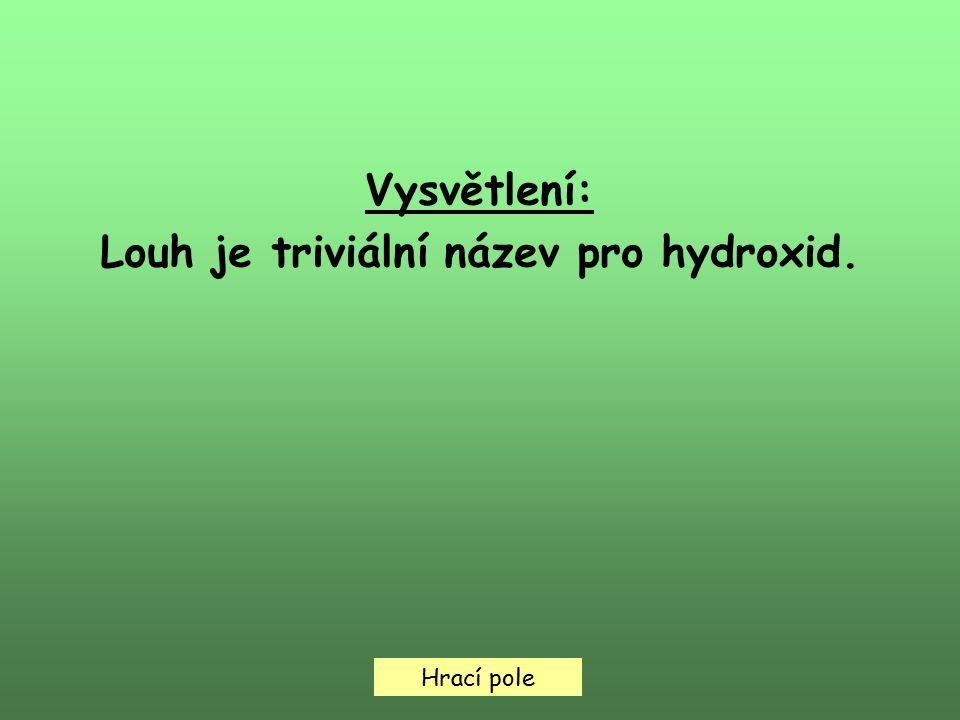 Hrací pole Vysvětlení: Louh je triviální název pro hydroxid.