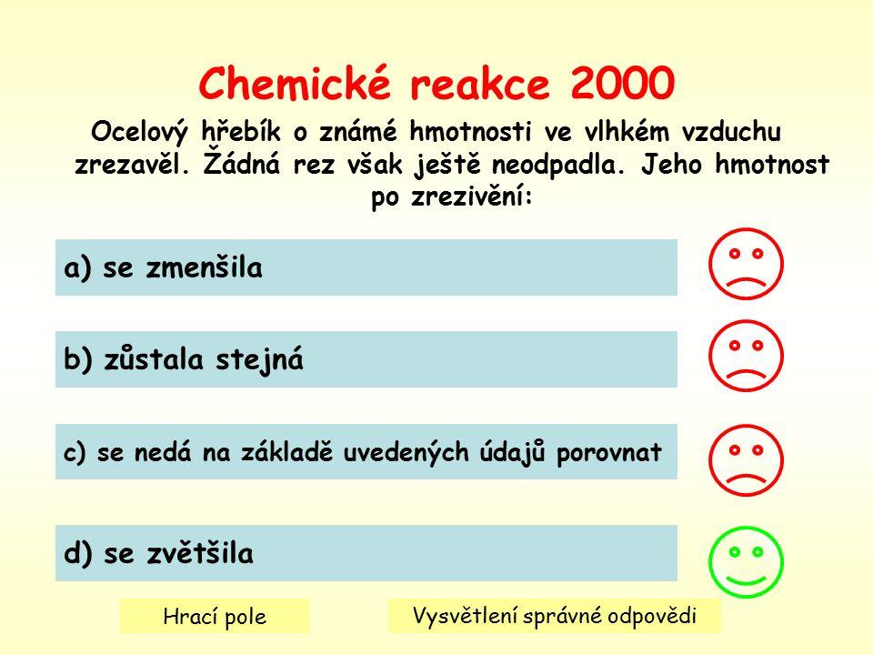 Chemické reakce 2000 Ocelový hřebík o známé hmotnosti ve vlhkém vzduchu zrezavěl.