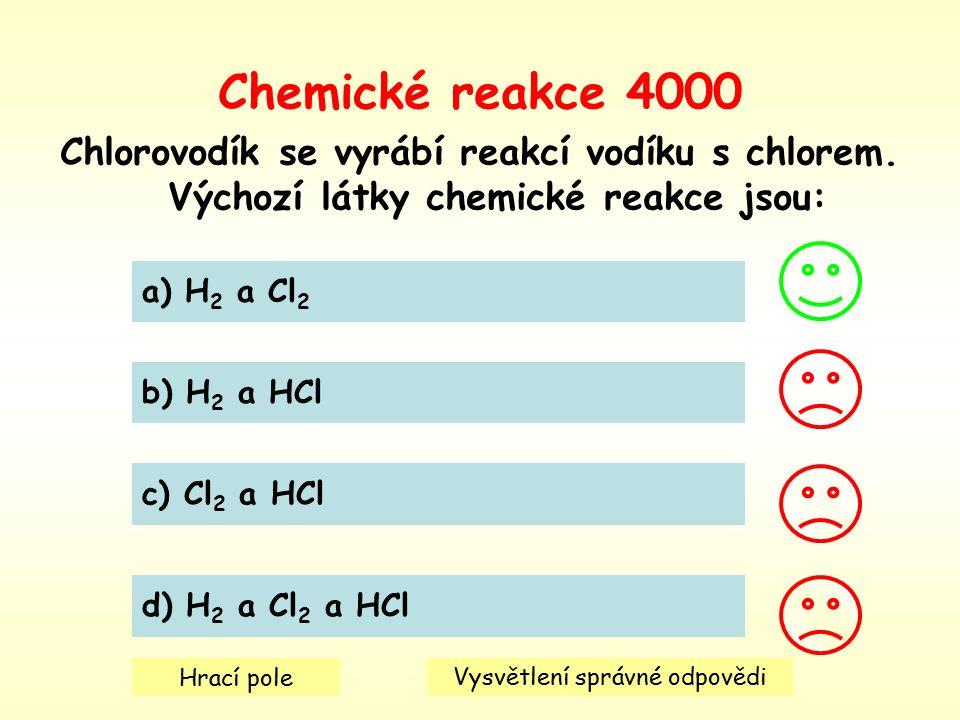 Chemické reakce 4000 Chlorovodík se vyrábí reakcí vodíku s chlorem.