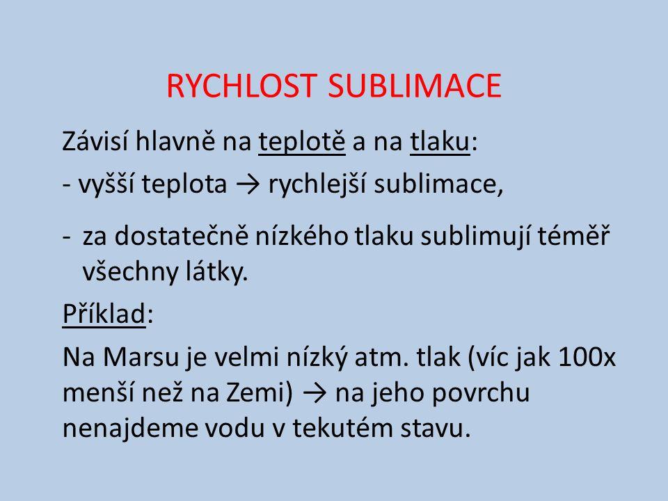 RYCHLOST SUBLIMACE Závisí hlavně na teplotě a na tlaku: - vyšší teplota → rychlejší sublimace, -za dostatečně nízkého tlaku sublimují téměř všechny lá