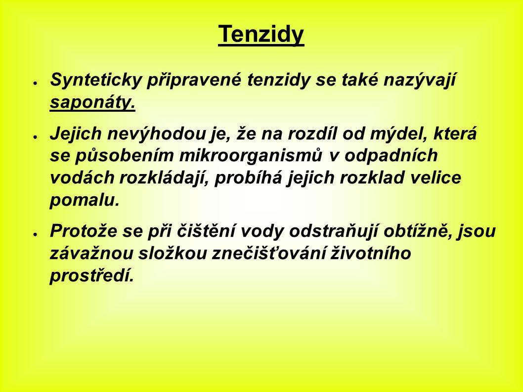 Tenzidy ● Synteticky připravené tenzidy se také nazývají saponáty.