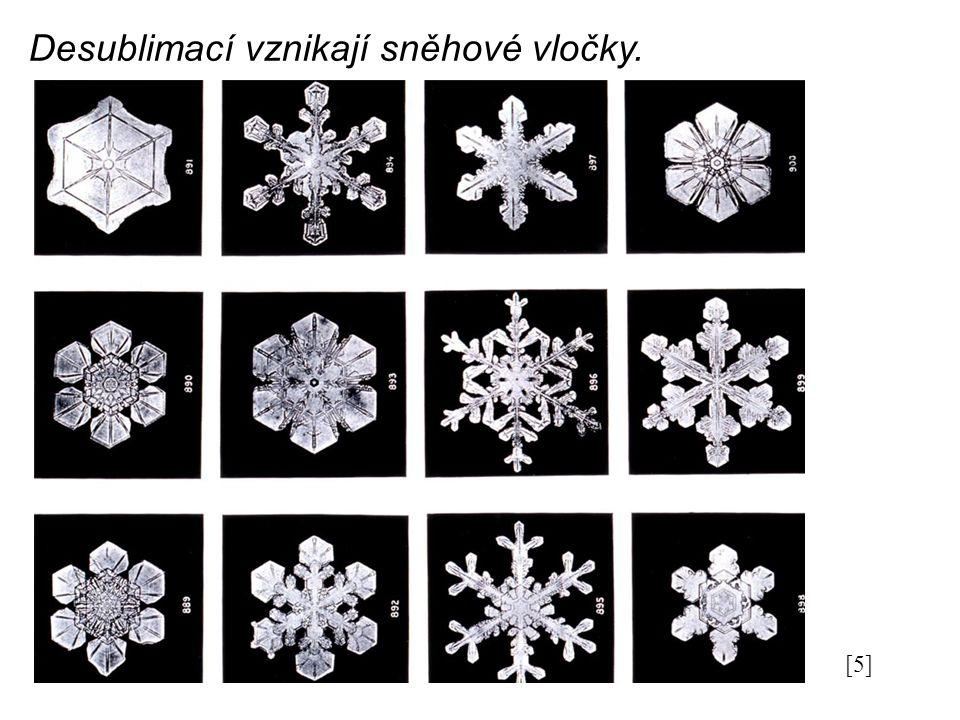 Desublimací vznikají sněhové vločky. [5]
