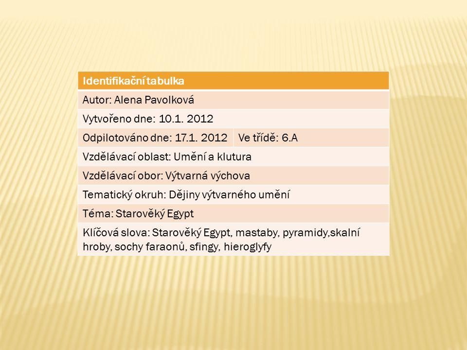 Identifikační tabulka Autor: Alena Pavolková Vytvořeno dne: 10.1.