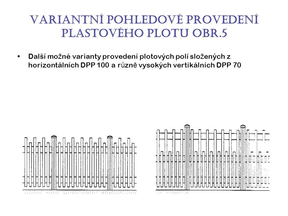 Další mo ž né varianty provedení plotových polí slo ž ených z horizontálních DPP 100 a r ů zn ě vysokých vertikálních DPP 70