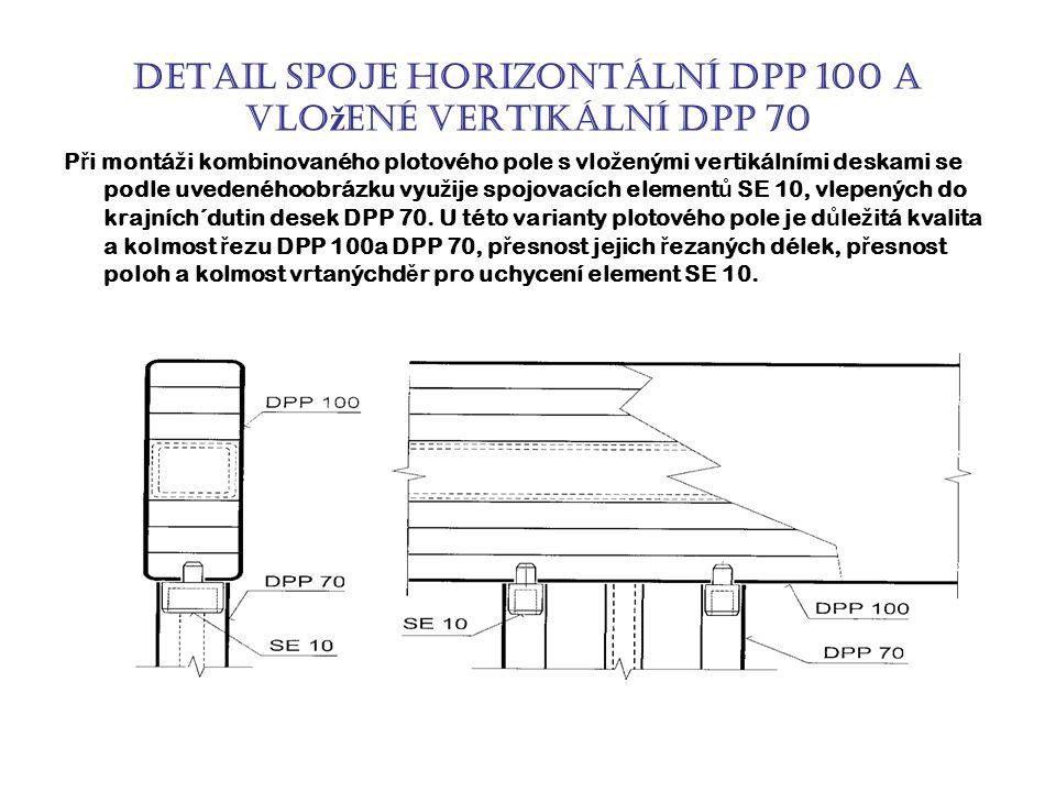 Detail spoje horizontální DPP 100 a vlo ž ené vertikální DPP 70 P ř i montá ž i kombinovaného plotového pole s vlo ž enými vertikálními deskami se podle uvedenéhoobrázku vyu ž ije spojovacích element ů SE 10, vlepených do krajních´dutin desek DPP 70.