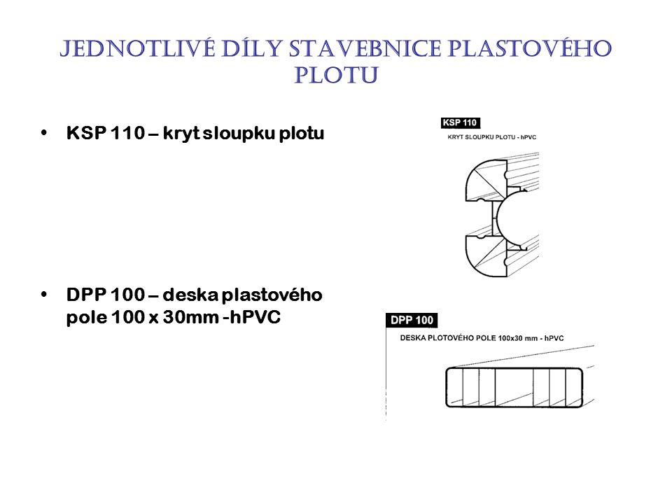 Jednotlivé díly stavebnice plastového plotu KSP 110 – kryt sloupku plotu DPP 100 – deska plastového pole 100 x 30mm -hPVC
