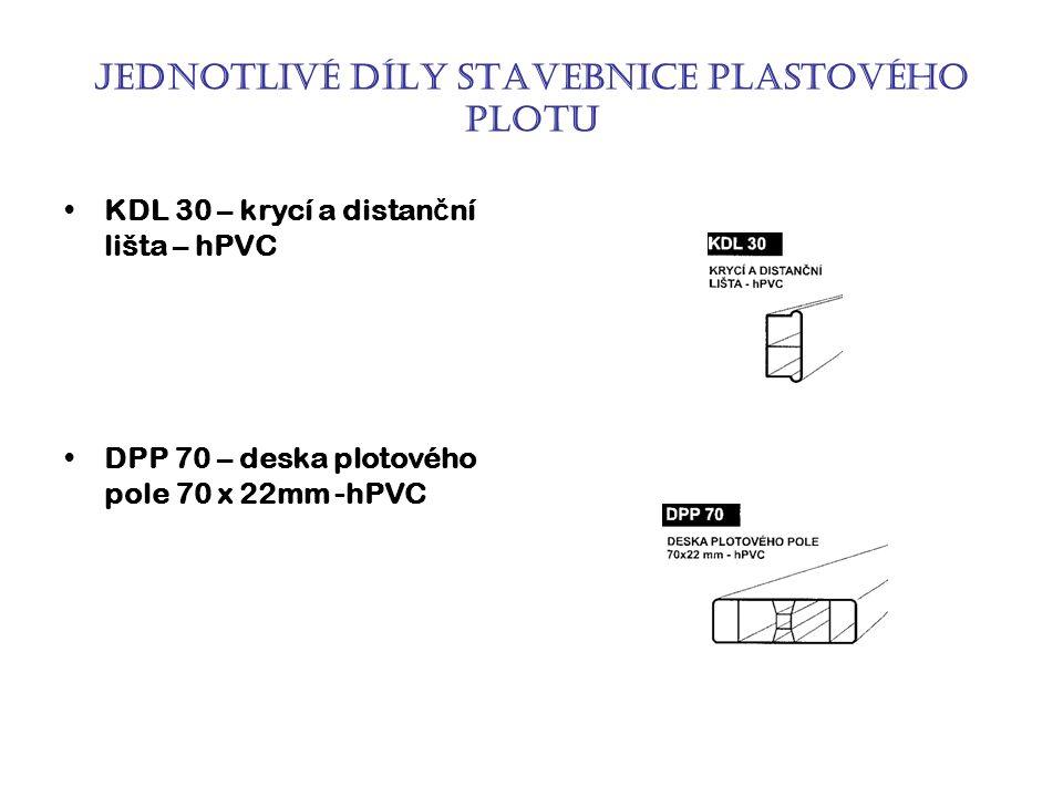 Jednotlivé díly stavebnice plastového plotu KDL 30 – krycí a distan č ní lišta – hPVC DPP 70 – deska plotového pole 70 x 22mm -hPVC