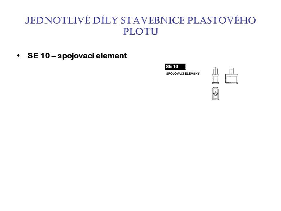Jednotlivé díly stavebnice plastového plotu SE 10 – spojovací element