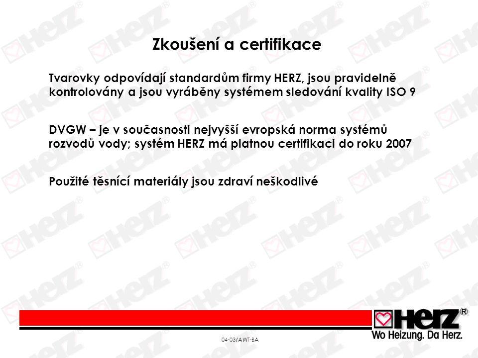 04-03/AWT-BA Zkoušení a certifikace Tvarovky odpovídají standardům firmy HERZ, jsou pravidelně kontrolovány a jsou vyráběny systémem sledování kvality ISO 9 DVGW – je v současnosti nejvyšší evropská norma systémů rozvodů vody; systém HERZ má platnou certifikaci do roku 2007 Použité těsnící materiály jsou zdraví neškodlivé
