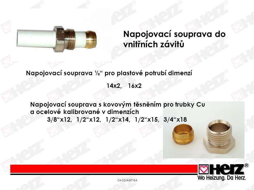 04-03/AWT-BA Napojovací souprava ½ pro plastové potrubí dimenzí 14x2, 16x2 Napojovací souprava s kovovým těsněním pro trubky Cu a ocelové kalibrované v dimenzích 3/8 x12, 1/2 x12, 1/2 x14, 1/2 x15, 3/4 x18 Napojovací souprava do vnitřních závitů