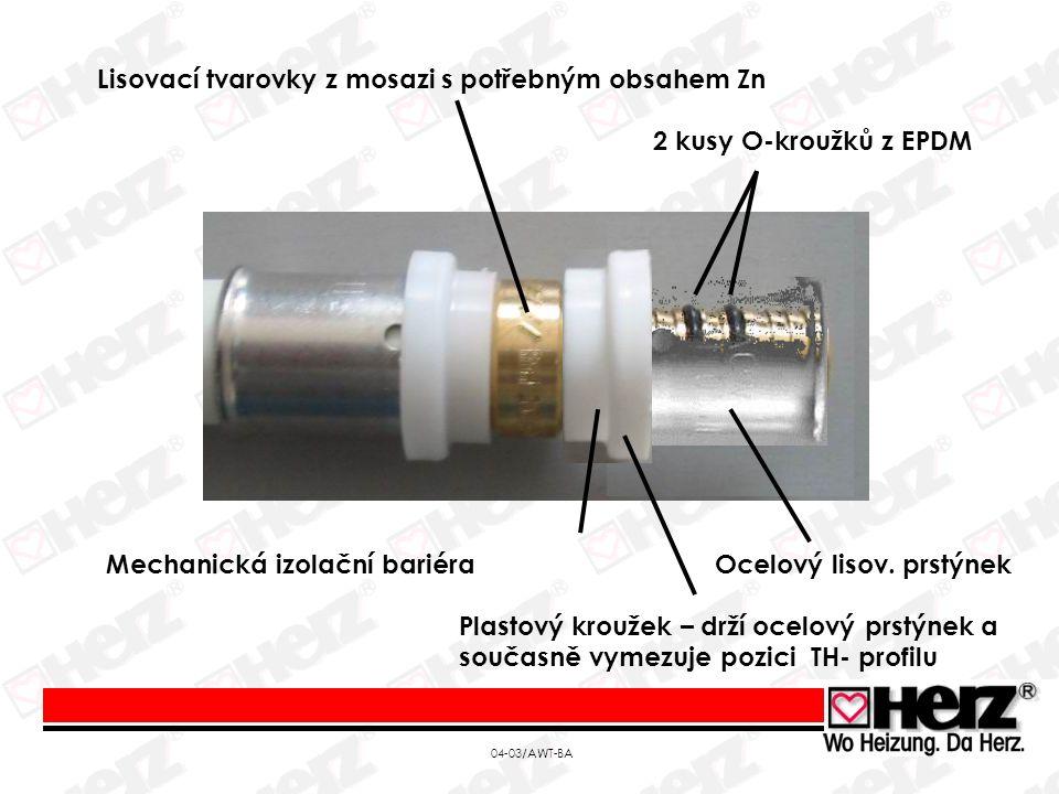 """04-03/AWT-BA Tento systém byl vyvinut pro otopné systémy stejně jako pro rozvody studené a teplé vody; tvarovky jsou ze slitiny mosazi Ms63, zinek ve slitině je v takové formě, že nemůže být """"vymýván a proto je systém odolný korozi Spoj je nerozebiratelný, odolný a velice spolehlivý díky dvojnásobnému radiálnímu zalisování Těsnost spoje je zabezpečena dvěma O-kroužky Velký výběr tvarovek pro trubky v dimenzi 14-63 mm Rychlá a jednoduchá montáž lisováním TH-profilem"""