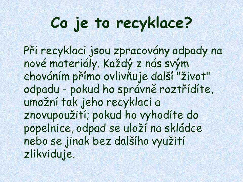 Co je to recyklace. Při recyklaci jsou zpracovány odpady na nové materiály.