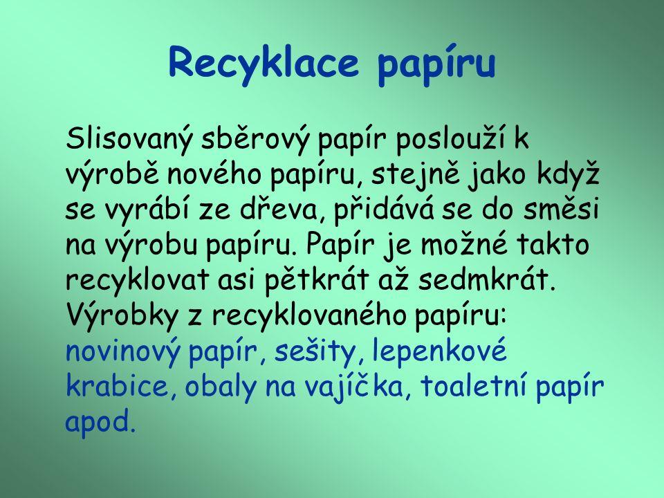 Recyklace papíru Slisovaný sběrový papír poslouží k výrobě nového papíru, stejně jako když se vyrábí ze dřeva, přidává se do směsi na výrobu papíru.