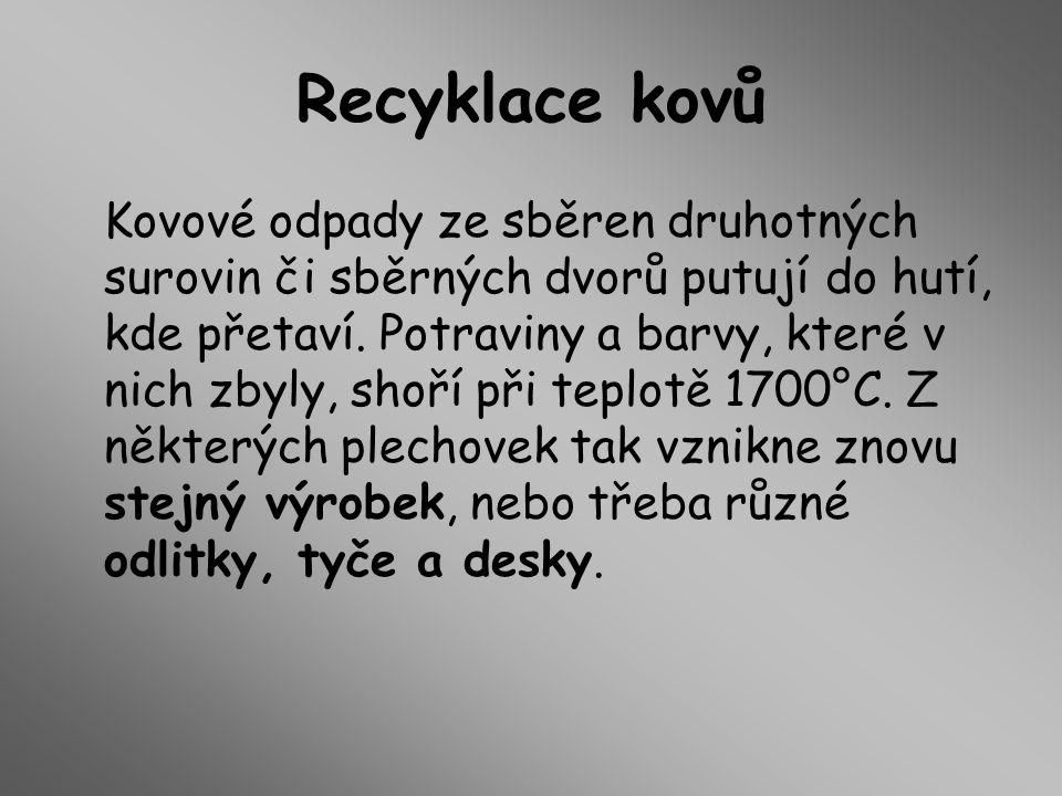 Recyklace kovů Kovové odpady ze sběren druhotných surovin či sběrných dvorů putují do hutí, kde přetaví.