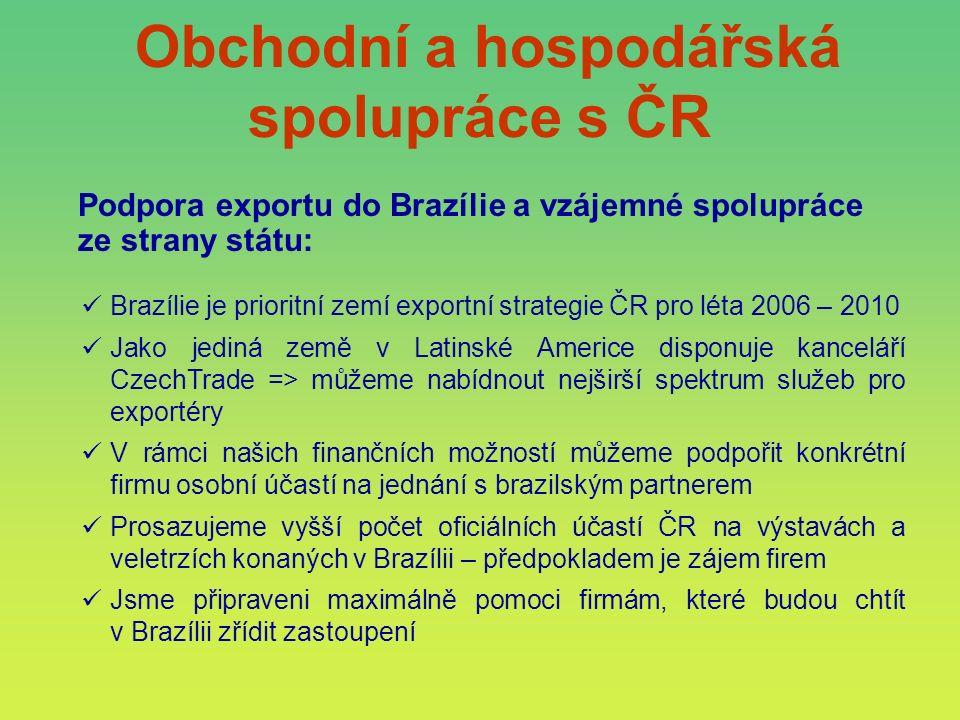 Obchodní a hospodářská spolupráce s ČR Podpora exportu do Brazílie a vzájemné spolupráce ze strany státu: Brazílie je prioritní zemí exportní strategi