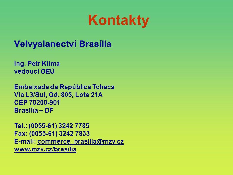 Kontakty Ing. Petr Klíma vedoucí OEÚ Embaixada da República Tcheca Via L3/Sul, Qd. 805, Lote 21A CEP 70200-901 Brasília – DF Tel.: (0055-61) 3242 7785