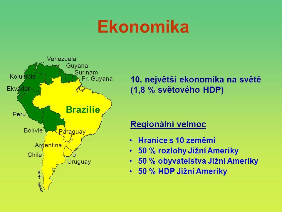 Hranice s 10 zeměmi 50 % rozlohy Jižní Ameriky 50 % obyvatelstva Jižní Ameriky 50 % HDP Jižní Ameriky Regionální velmoc Surinam Venezuela Guyana Bolívie Chile Brazil Paraguay Argentina Fr.