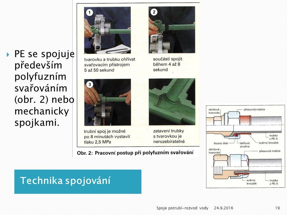 Technika spojování  PE se spojuje především polyfuzním svařováním (obr.