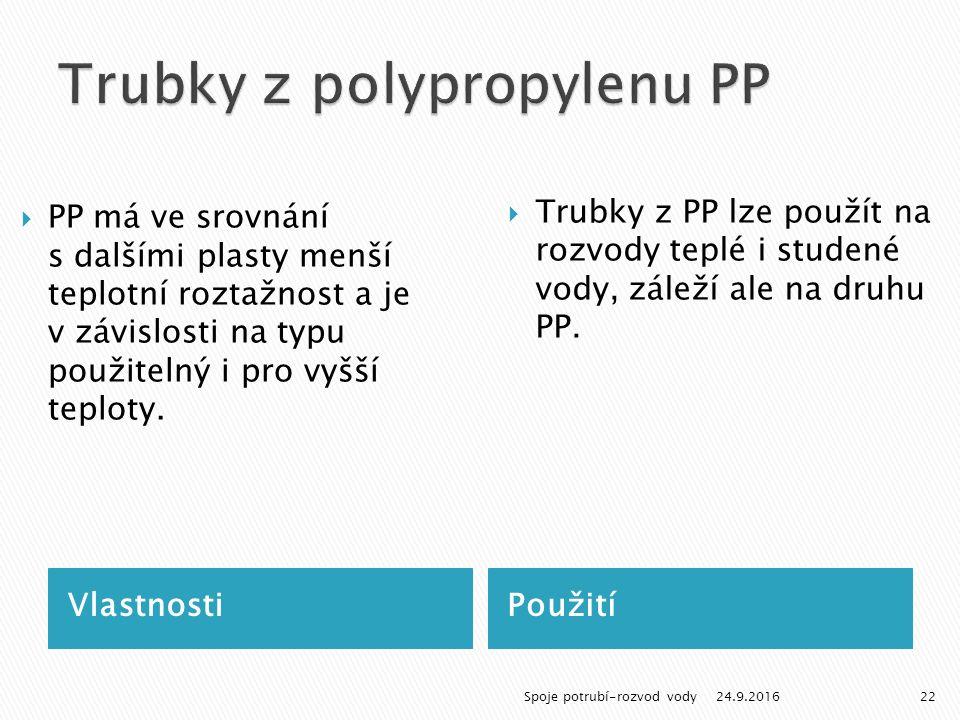 VlastnostiPoužití  PP má ve srovnání s dalšími plasty menší teplotní roztažnost a je v závislosti na typu použitelný i pro vyšší teploty.