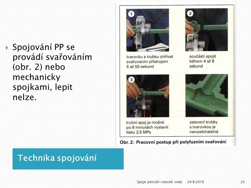 Technika spojování  Spojování PP se provádí svařováním (obr.