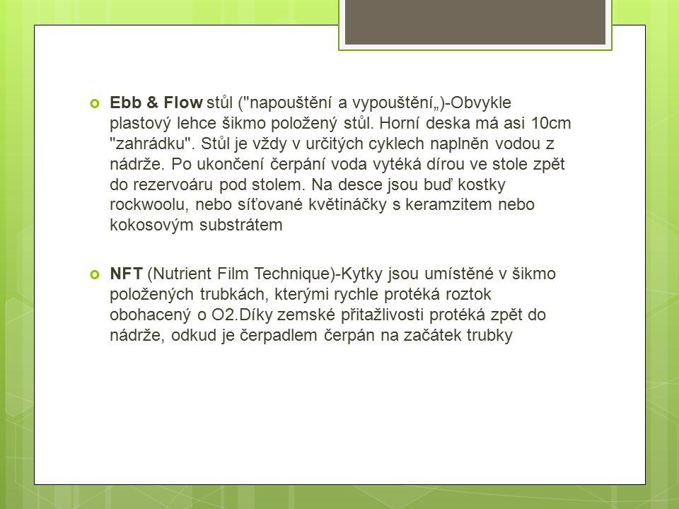 """ Ebb & Flow stůl ( napouštění a vypouštění"""")-Obvykle plastový lehce šikmo položený stůl."""
