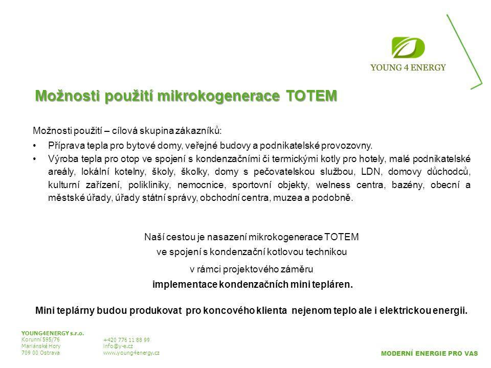 Možnosti použití mikrokogenerace TOTEM YOUNG4ENERGY s.r.o. Korunní 595/76 Mariánské Hory 709 00 Ostrava +420 776 11 88 99 info@y-e.cz www.young4energy