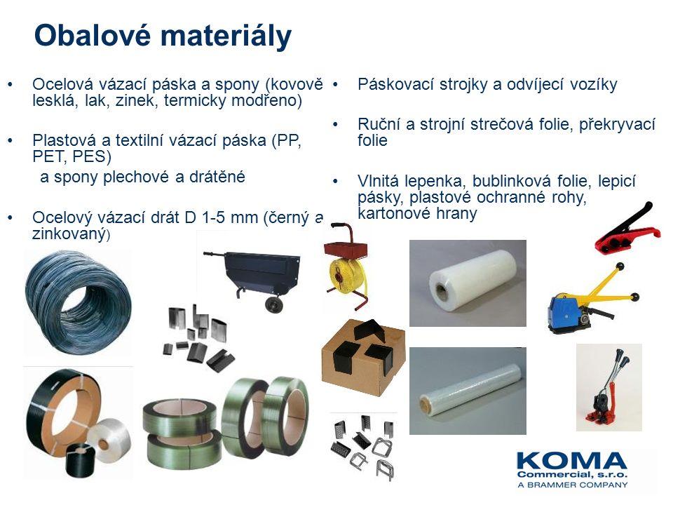Obalové materiály Ocelová vázací páska a spony (kovově lesklá, lak, zinek, termicky modřeno) Plastová a textilní vázací páska (PP, PET, PES) a spony plechové a drátěné Ocelový vázací drát D 1-5 mm (černý a zinkovaný ) Páskovací strojky a odvíjecí vozíky Ruční a strojní strečová folie, překryvací folie Vlnitá lepenka, bublinková folie, lepicí pásky, plastové ochranné rohy, kartonové hrany