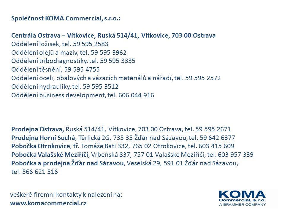 Společnost KOMA Commercial, s.r.o.: Centrála Ostrava – Vítkovice, Ruská 514/41, Vítkovice, 703 00 Ostrava Oddělení ložisek, tel.