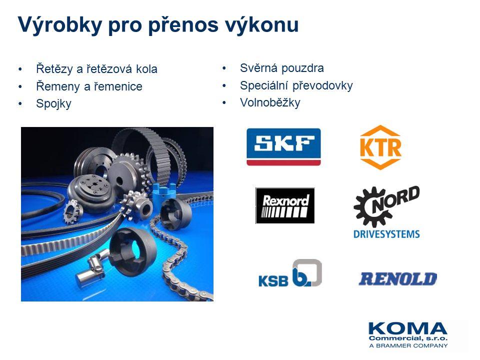 Výrobky pro přenos výkonu Řetězy a řetězová kola Řemeny a řemenice Spojky Svěrná pouzdra Speciální převodovky Volnoběžky