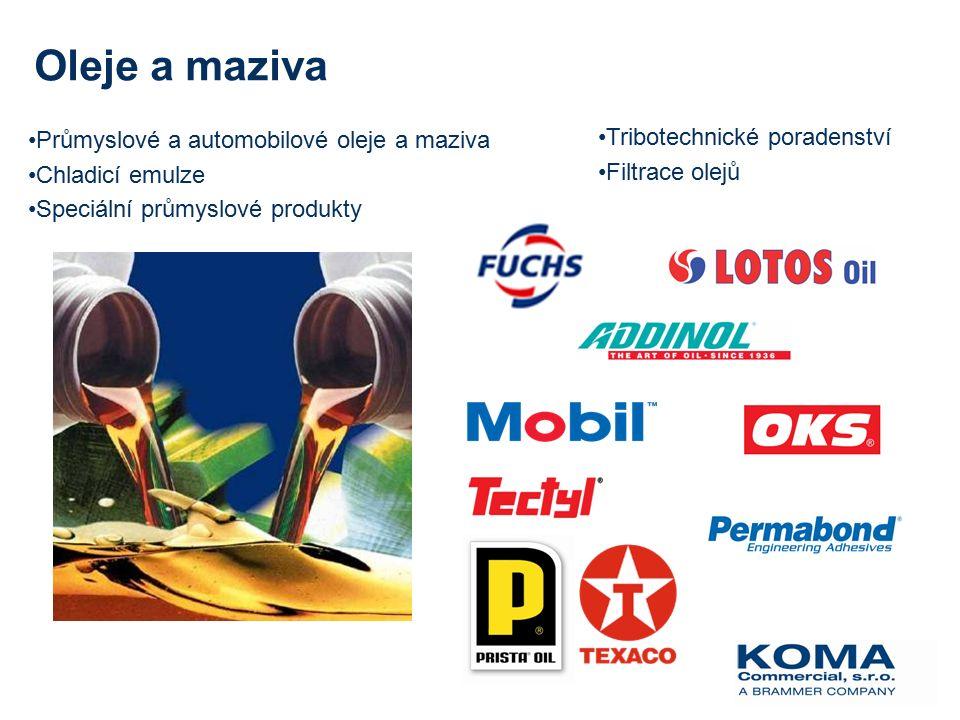 Průmyslové a automobilové oleje a maziva Chladicí emulze Speciální průmyslové produkty Oleje a maziva Tribotechnické poradenství Filtrace olejů