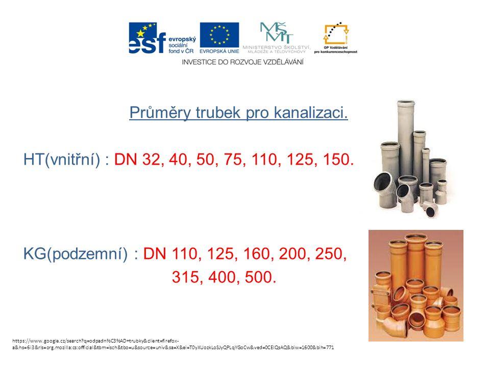 Průměry trubek pro kanalizaci. HT(vnitřní) : DN 32, 40, 50, 75, 110, 125, 150.