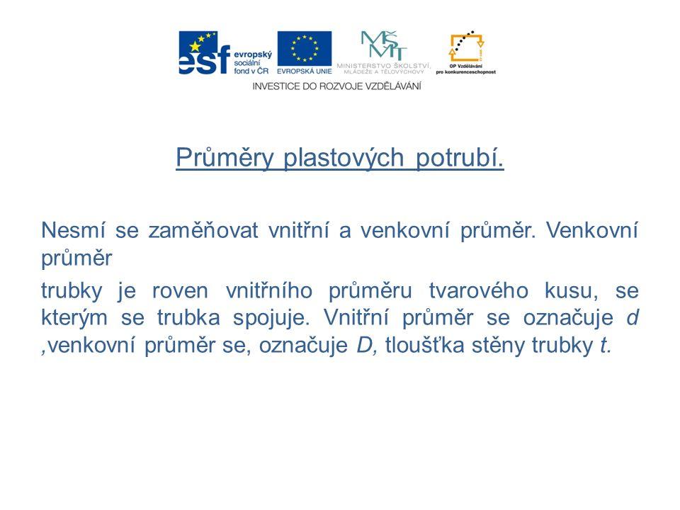 Průměry plastových potrubí. Nesmí se zaměňovat vnitřní a venkovní průměr.