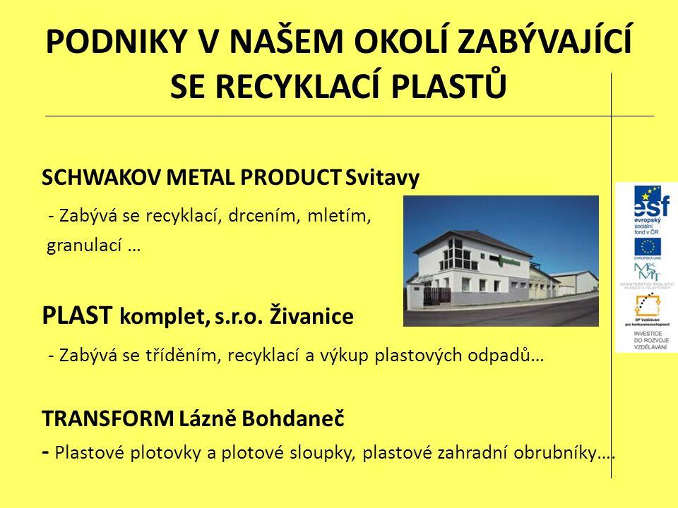 PODNIKY V NAŠEM OKOLÍ ZABÝVAJÍCÍ SE RECYKLACÍ PLASTŮ SCHWAKOV METAL PRODUCT Svitavy - Zabývá se recyklací, drcením, mletím, granulací … PLAST komplet, s.r.o.
