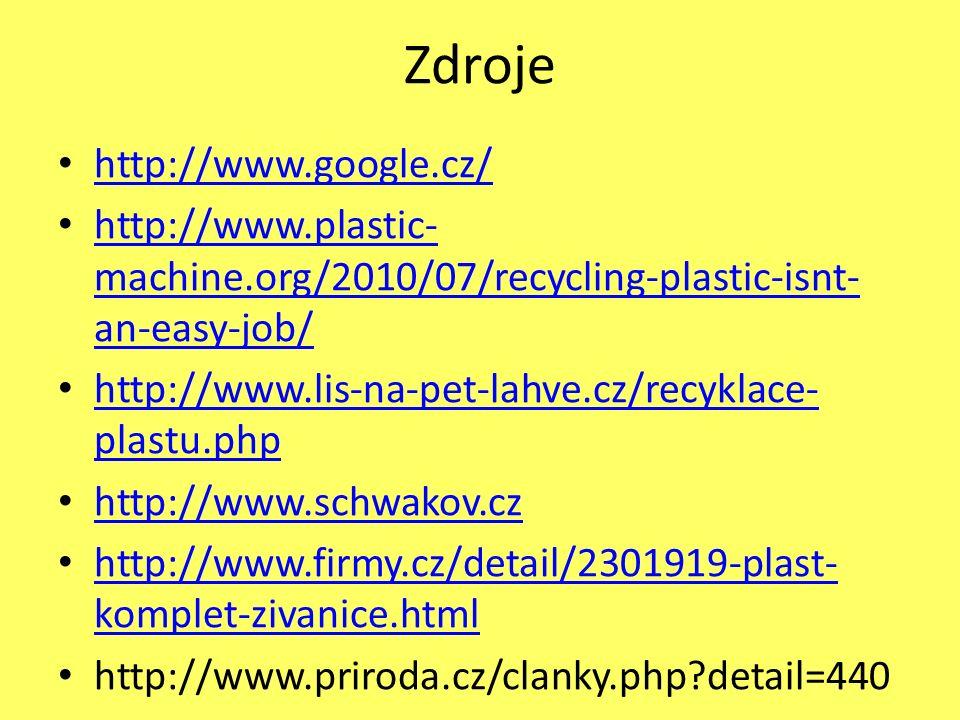 Zdroje http://www.google.cz/ http://www.plastic- machine.org/2010/07/recycling-plastic-isnt- an-easy-job/ http://www.plastic- machine.org/2010/07/recycling-plastic-isnt- an-easy-job/ http://www.lis-na-pet-lahve.cz/recyklace- plastu.php http://www.lis-na-pet-lahve.cz/recyklace- plastu.php http://www.schwakov.cz http://www.firmy.cz/detail/2301919-plast- komplet-zivanice.html http://www.firmy.cz/detail/2301919-plast- komplet-zivanice.html http://www.priroda.cz/clanky.php detail=440