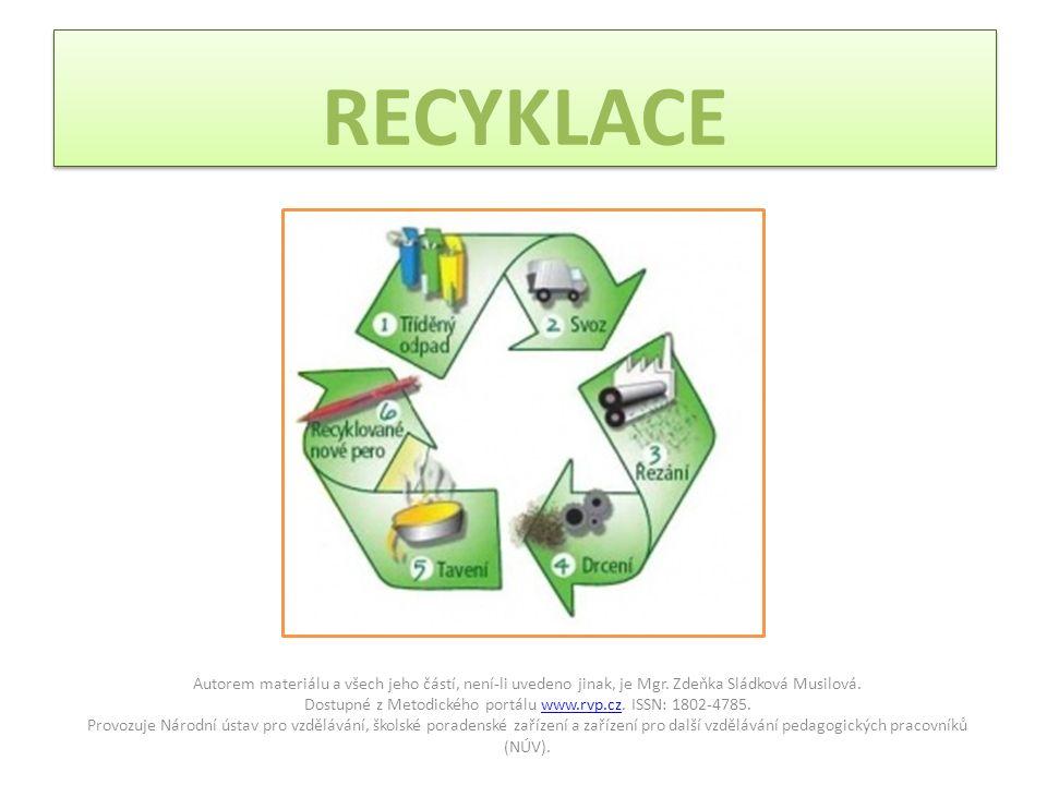RECYKLACE Autorem materiálu a všech jeho částí, není-li uvedeno jinak, je Mgr.