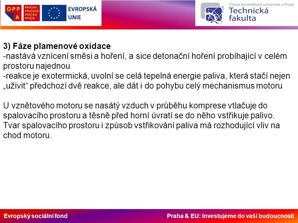 """Evropský sociální fond Praha & EU: Investujeme do vaší budoucnosti 3) Fáze plamenové oxidace -nastává vznícení směsi a hoření, a sice detonační hoření probíhající v celém prostoru najednou -reakce je exotermická, uvolní se celá tepelná energie paliva, která stačí nejen """"uživit předchozí dvě reakce, ale dát i do pohybu celý mechanismus motoru U vznětového motoru se nasátý vzduch v průběhu komprese vtlačuje do spalovacího prostoru a těsně před horní úvratí se do něho vstřikuje palivo."""