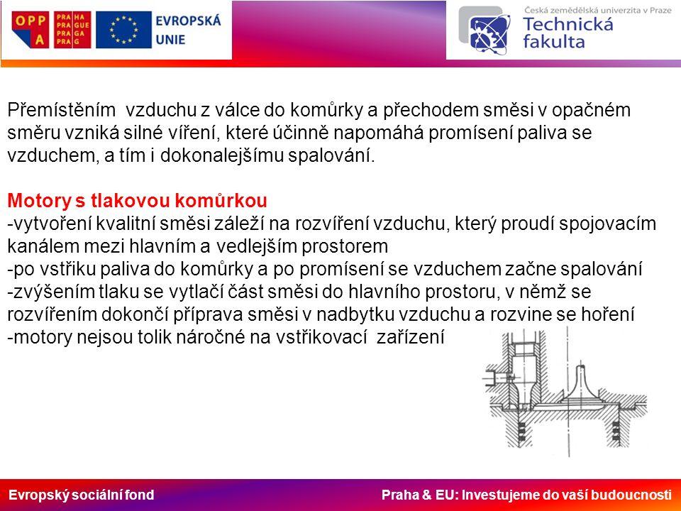 Evropský sociální fond Praha & EU: Investujeme do vaší budoucnosti Přemístěním vzduchu z válce do komůrky a přechodem směsi v opačném směru vzniká silné víření, které účinně napomáhá promísení paliva se vzduchem, a tím i dokonalejšímu spalování.