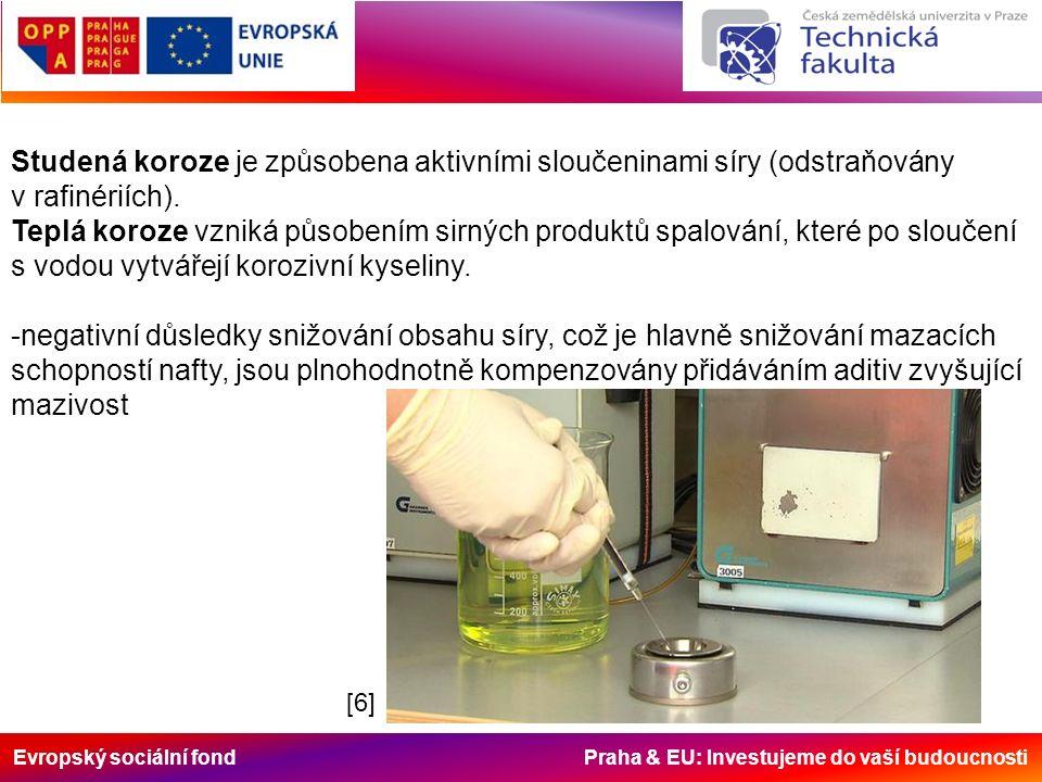 Evropský sociální fond Praha & EU: Investujeme do vaší budoucnosti Studená koroze je způsobena aktivními sloučeninami síry (odstraňovány v rafinériích).
