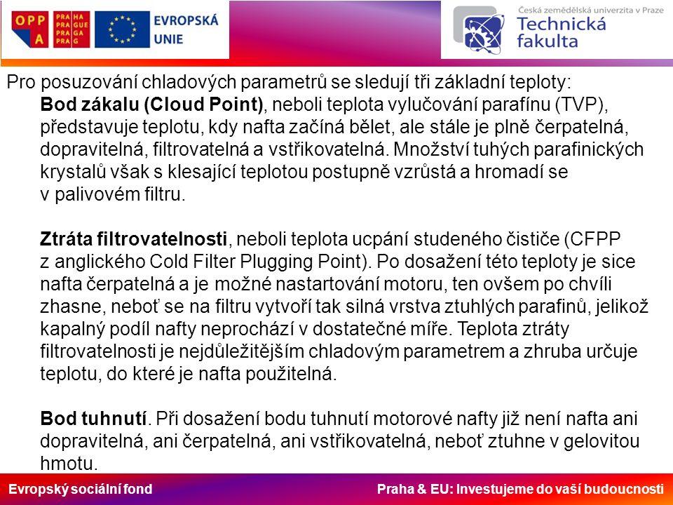 Evropský sociální fond Praha & EU: Investujeme do vaší budoucnosti Pro posuzování chladových parametrů se sledují tři základní teploty: Bod zákalu (Cloud Point), neboli teplota vylučování parafínu (TVP), představuje teplotu, kdy nafta začíná bělet, ale stále je plně čerpatelná, dopravitelná, filtrovatelná a vstřikovatelná.