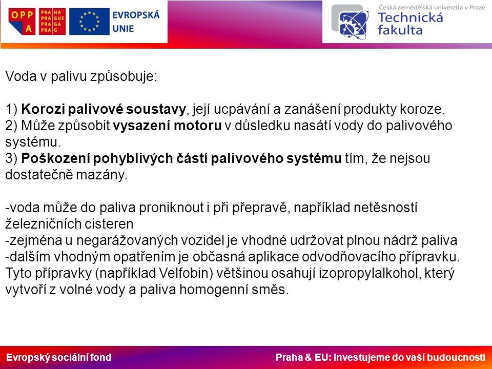 Evropský sociální fond Praha & EU: Investujeme do vaší budoucnosti Voda v palivu způsobuje: 1) Korozi palivové soustavy, její ucpávání a zanášení produkty koroze.
