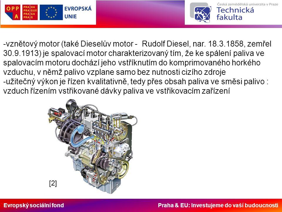 Evropský sociální fond Praha & EU: Investujeme do vaší budoucnosti -vznětový motor (také Dieselův motor - Rudolf Diesel, nar.