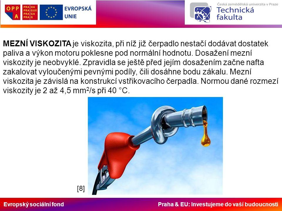 Evropský sociální fond Praha & EU: Investujeme do vaší budoucnosti MEZNÍ VISKOZITA je viskozita, při níž již čerpadlo nestačí dodávat dostatek paliva a výkon motoru poklesne pod normální hodnotu.