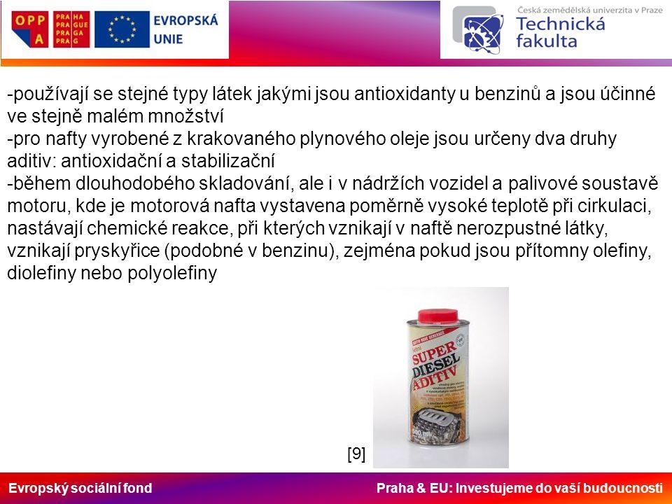 Evropský sociální fond Praha & EU: Investujeme do vaší budoucnosti -používají se stejné typy látek jakými jsou antioxidanty u benzinů a jsou účinné ve stejně malém množství -pro nafty vyrobené z krakovaného plynového oleje jsou určeny dva druhy aditiv: antioxidační a stabilizační -během dlouhodobého skladování, ale i v nádržích vozidel a palivové soustavě motoru, kde je motorová nafta vystavena poměrně vysoké teplotě při cirkulaci, nastávají chemické reakce, při kterých vznikají v naftě nerozpustné látky, vznikají pryskyřice (podobné v benzinu), zejména pokud jsou přítomny olefiny, diolefiny nebo polyolefiny [9][9]