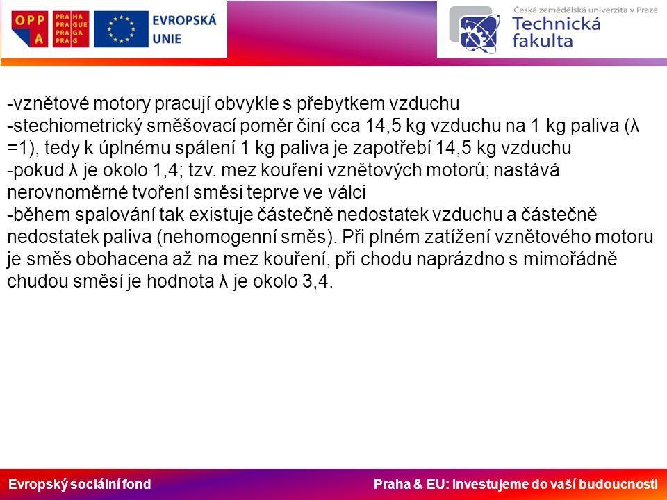 Evropský sociální fond Praha & EU: Investujeme do vaší budoucnosti -vznětové motory pracují obvykle s přebytkem vzduchu -stechiometrický směšovací poměr činí cca 14,5 kg vzduchu na 1 kg paliva (λ =1), tedy k úplnému spálení 1 kg paliva je zapotřebí 14,5 kg vzduchu -pokud λ je okolo 1,4; tzv.