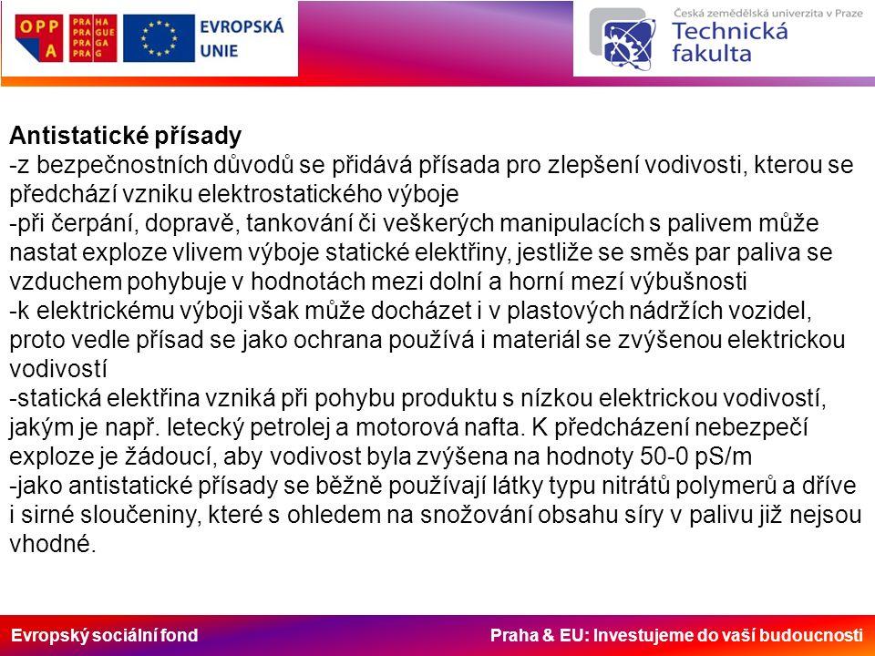 Evropský sociální fond Praha & EU: Investujeme do vaší budoucnosti Antistatické přísady -z bezpečnostních důvodů se přidává přísada pro zlepšení vodivosti, kterou se předchází vzniku elektrostatického výboje -při čerpání, dopravě, tankování či veškerých manipulacích s palivem může nastat exploze vlivem výboje statické elektřiny, jestliže se směs par paliva se vzduchem pohybuje v hodnotách mezi dolní a horní mezí výbušnosti -k elektrickému výboji však může docházet i v plastových nádržích vozidel, proto vedle přísad se jako ochrana používá i materiál se zvýšenou elektrickou vodivostí -statická elektřina vzniká při pohybu produktu s nízkou elektrickou vodivostí, jakým je např.