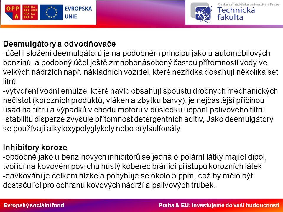 Evropský sociální fond Praha & EU: Investujeme do vaší budoucnosti Deemulgátory a odvodňovače -účel i složení deemulgátorů je na podobném principu jako u automobilových benzinů.