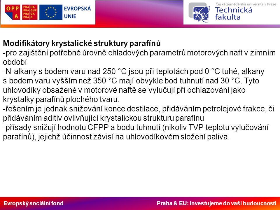 Evropský sociální fond Praha & EU: Investujeme do vaší budoucnosti Modifikátory krystalické struktury parafínů -pro zajištění potřebné úrovně chladových parametrů motorových naft v zimním období -N-alkany s bodem varu nad 250 °C jsou při teplotách pod 0 °C tuhé, alkany s bodem varu vyšším než 350 °C mají obvykle bod tuhnutí nad 30 °C.