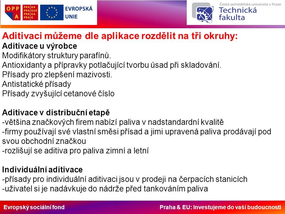 Evropský sociální fond Praha & EU: Investujeme do vaší budoucnosti Aditivaci můžeme dle aplikace rozdělit na tři okruhy: Aditivace u výrobce Modifikátory struktury parafínů.