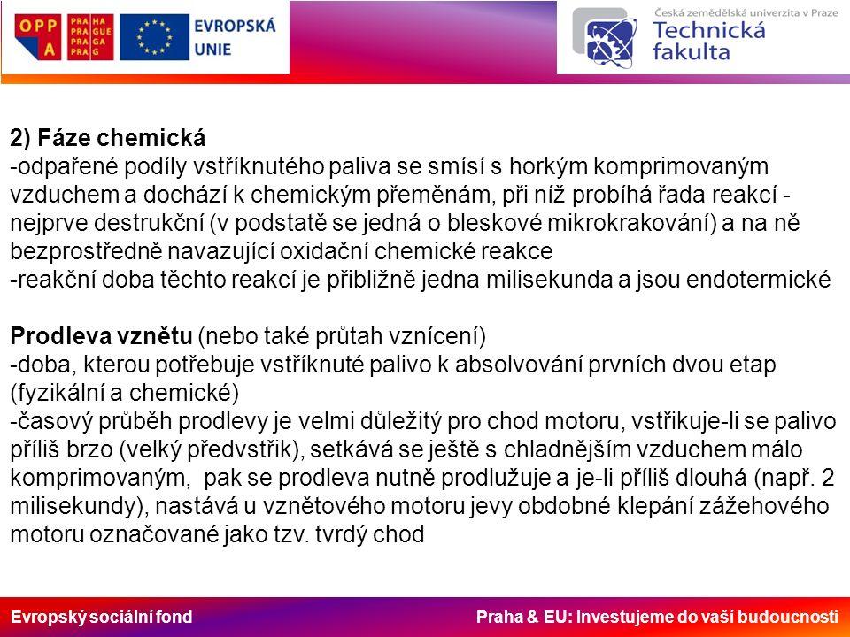 Evropský sociální fond Praha & EU: Investujeme do vaší budoucnosti 2) Fáze chemická -odpařené podíly vstříknutého paliva se smísí s horkým komprimovaným vzduchem a dochází k chemickým přeměnám, při níž probíhá řada reakcí - nejprve destrukční (v podstatě se jedná o bleskové mikrokrakování) a na ně bezprostředně navazující oxidační chemické reakce -reakční doba těchto reakcí je přibližně jedna milisekunda a jsou endotermické Prodleva vznětu (nebo také průtah vznícení) -doba, kterou potřebuje vstříknuté palivo k absolvování prvních dvou etap (fyzikální a chemické) -časový průběh prodlevy je velmi důležitý pro chod motoru, vstřikuje-li se palivo příliš brzo (velký předvstřik), setkává se ještě s chladnějším vzduchem málo komprimovaným, pak se prodleva nutně prodlužuje a je-li příliš dlouhá (např.