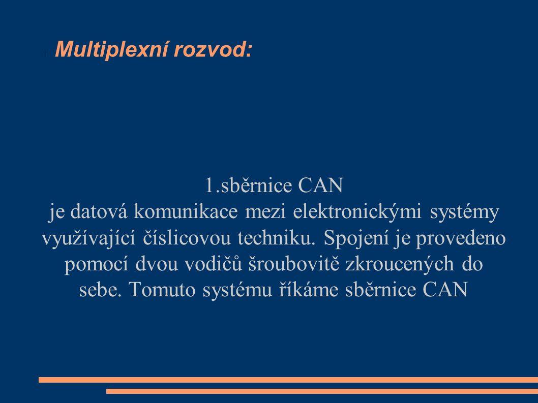 Multiplexní rozvod: 1.sběrnice CAN je datová komunikace mezi elektronickými systémy využívající číslicovou techniku.